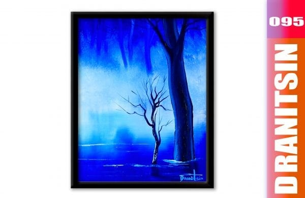 'Blue Mist' - acrylic landscape painting demo, how to paint water reflections, 095