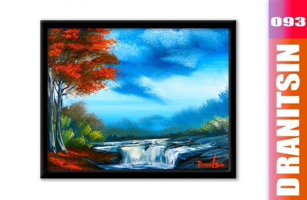 Blue Waterfall, elegant and relaxing acrylic painting demonstration, 093