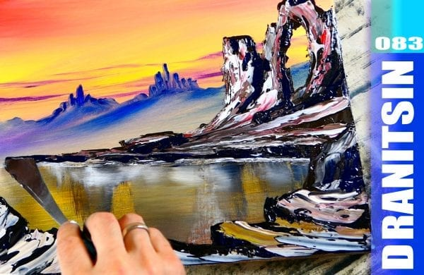 How to paint Desert Lake, relaxing oil painting techniques, 077