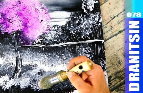 Easy black and white acrylic landscape painting techniques, pink tree, 078