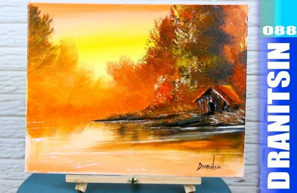 'Golden Reflections' - relaxing and simple acrylic landscape painting demonstration, 088
