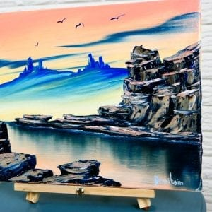 Desert Landscape at Sunset, fun and enjoyable acrylic painting techniques, 083