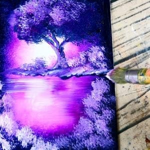 How to paint magical landscape, relaxing acrylic step by step painting demonstration, 080