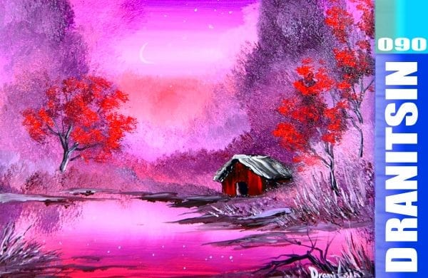 Red Barn, fun acrylic painting techniques, 090