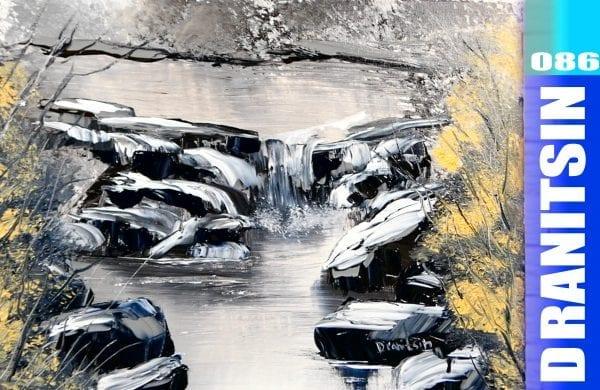 'Rocky Waterfall' - round wax brush, palette knife & fan brush painting demonstration, acrylics, 086