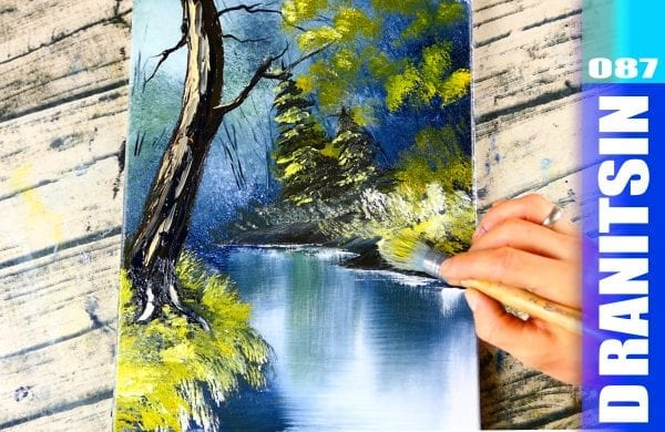 'Secluded Forest' - relaxing acrylics painting demonstration, 087