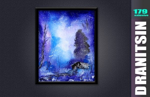 Exclusive art video lesson by Peter Dranitsin landscape abstract night, tree, cabin