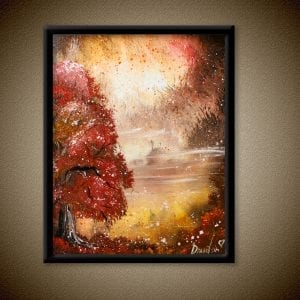 EXCLUSIVE, red tree, autumn, lake, oval brush techniques