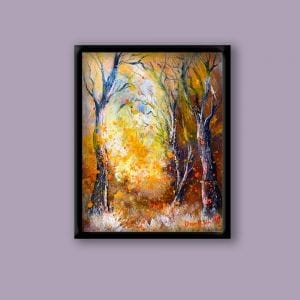 Unique ABSTRACT LANDSCAPE PAINTING, creating FALLING LEAVES using palette knife and oval brush, 104