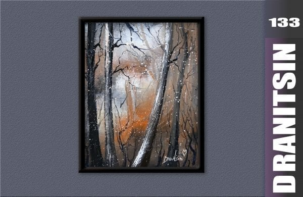 Reusing old painting - Abstract Landscape, tall trees, falling snow, oval brush, 133
