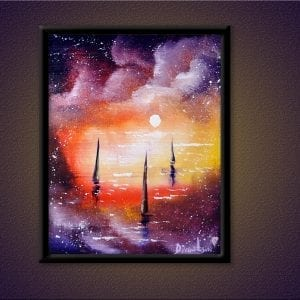 UNIQUE PAINTING APPROACH, sailboats, ocean, sunset, OVAL BRUSH TECHNIQUE, 138