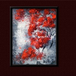 UNIQUE painting approach - REUSING old canvas - RED TREES, ABSTRACT, LANDSCAPE, OVAL BRUSH, 134
