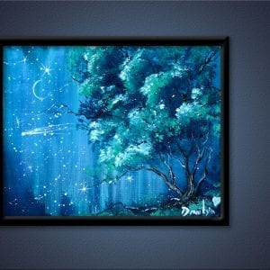 UNIQUE painting idea - REUSING old canvas - night sky, shooting star, ABSTRACT, LANDSCAPE, 134