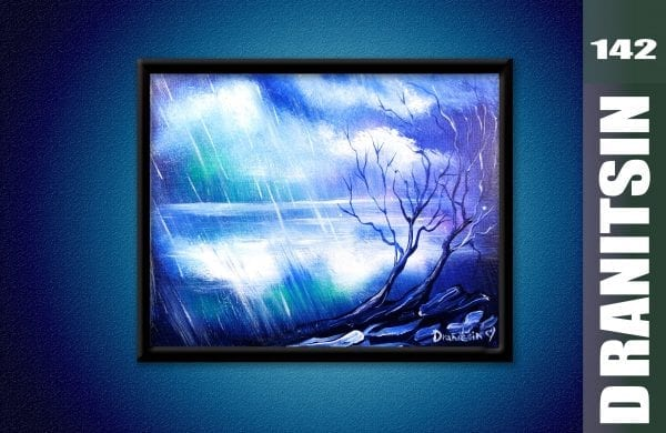 Unique Painting, blue abstract landscape, rain, clouds, trees, lake, oval brush, wire brush, 142
