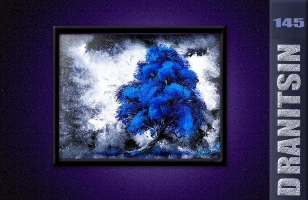 Unique painting, blue tree, abstract background, oval brush blending techniques, 145