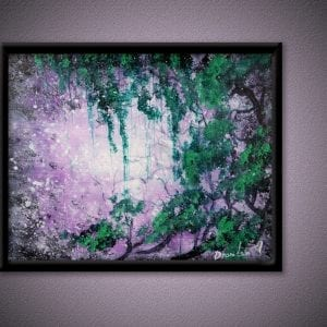Unique painting, green trees, purple abstract background, sponge, oval brush technique, 144