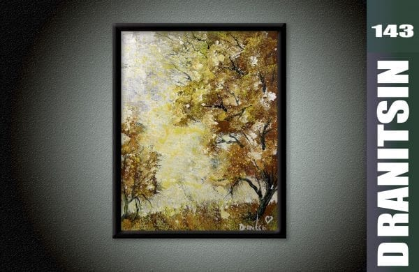 Unique painting, yellow trees, autumn, abstract background, oval brush painting techniques, 143