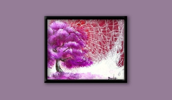 Exclusive art video lesson by Dranitsin, how to create illusion of broken glass abstract landscape painting purple tree using hairdryer