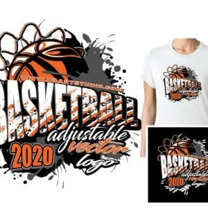 BASKETBALL ADJUSTABLE VECTOR LOGO DESIGN FOR PRINT 0021