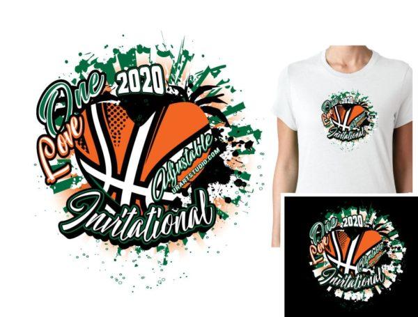 BASKETBALL ONE LOVE ADJUSTABLE VECTOR LOGO DESIGN FOR PRINT 0022.eps