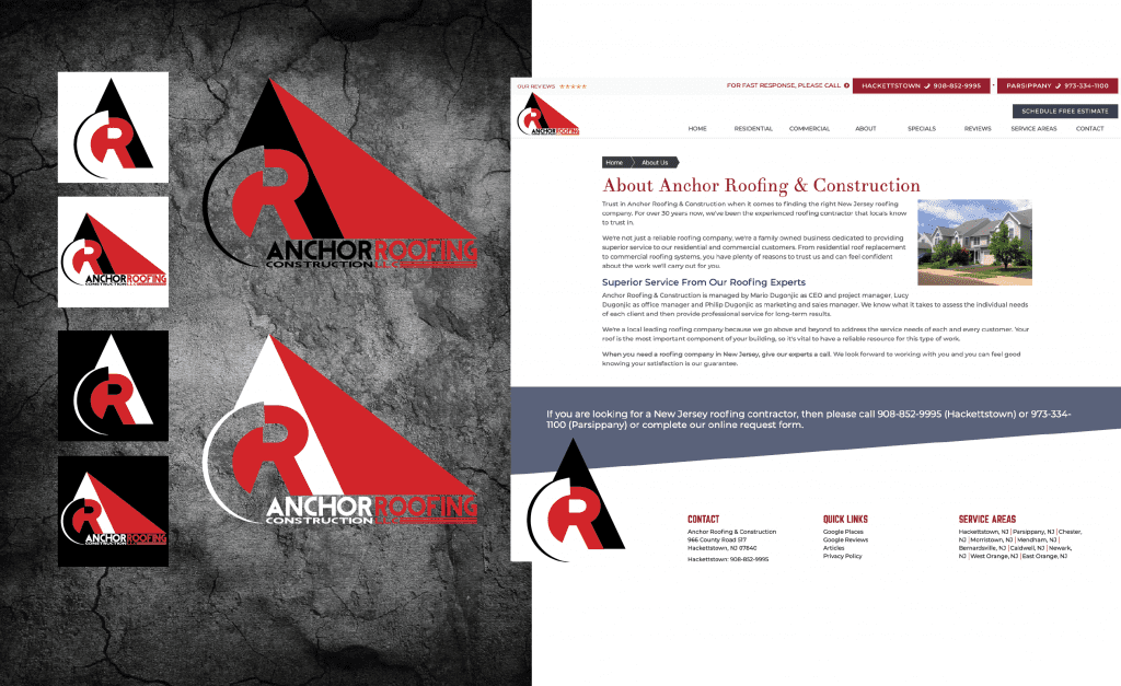 logo design for roofing company, stationary designs