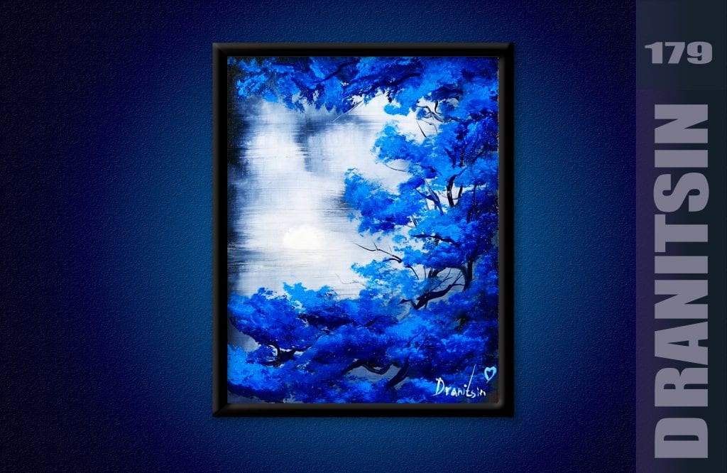 Blue Tree - Oval Brush Painting Techniques, abstract landscape, 179