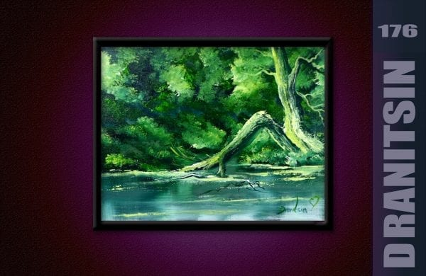 How to paint green landscape, Easy for Beginners, Oval Brush, Palette knife, 175