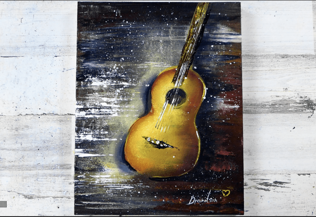 Exclusive art video tutorial - Acoustic Guitar, oval brush, palette knife, 203