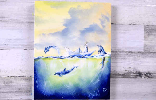 Girl and Dolphins, acrylic painting by Dranitsin