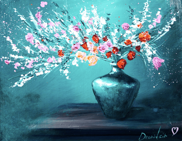 flowers in beautiful green vase by Dranitsin