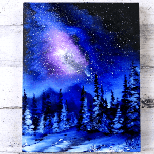 How-to-paint-Milky-Way-Galaxy-Polar-Landscape-Oval-Brush-Acrylics