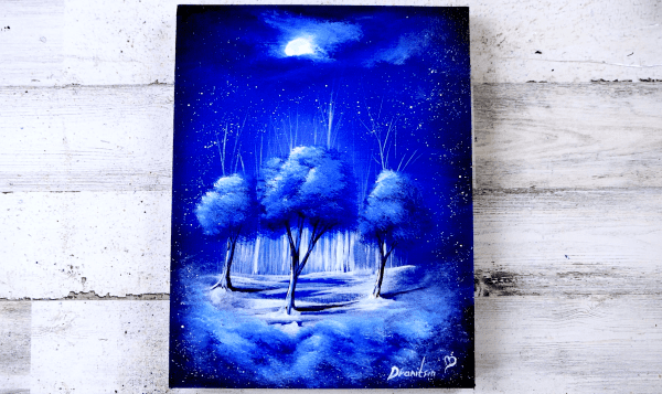 Exlusive-blue-trees-in-a-dream-floating-on-clouds-through-the-dark-night