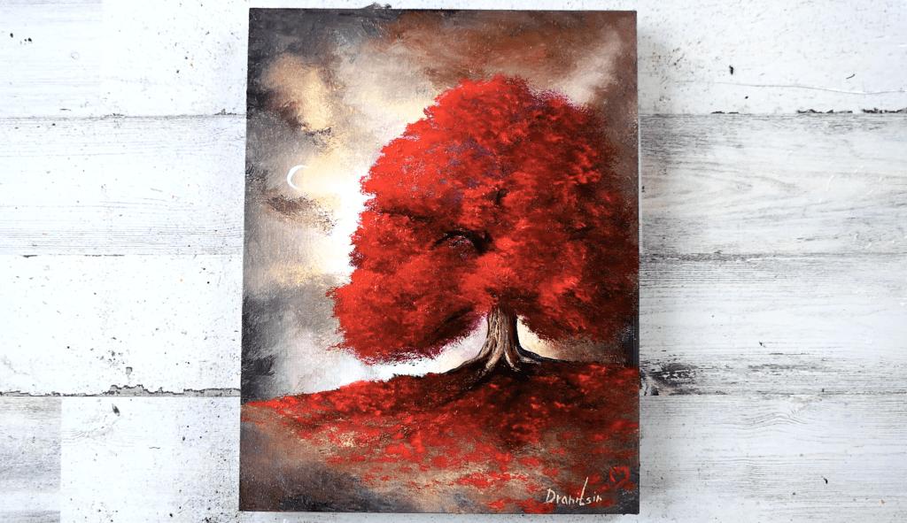 red tree landscape art by Dranitsin