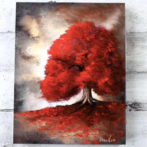 red tree landscape art by Dranitsin