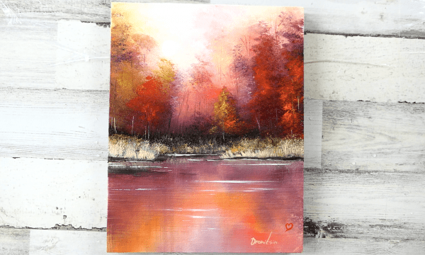 7 steps to paint Autumn Reflections | September Landscape Painting | Oval Brush Art