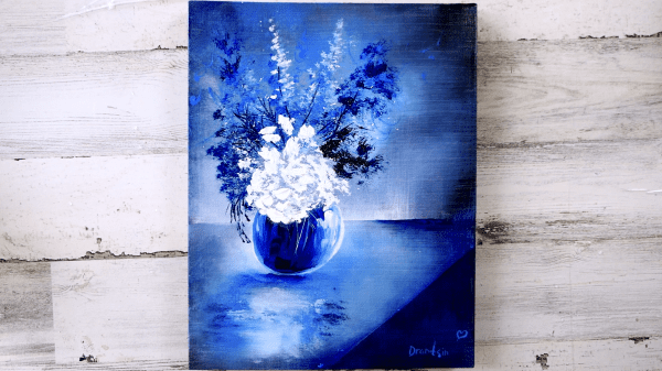 Unique-Floral-Painting-Approach-White-Flowers-Blue-Vase-Abstract-Oval-Brush-Art0