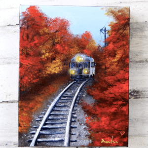 Blue Train acrylic painting by Dranitsin Peter