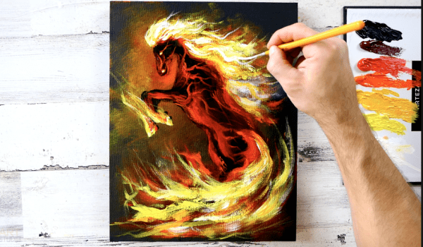 fire horse painting by peter dranitsin abstract art