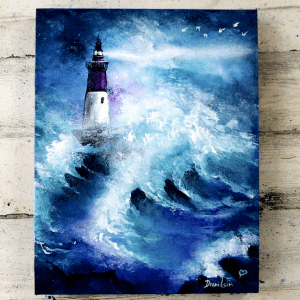 Lighthouse in Stormy Ocean Easy Painting for Beginners Acrylics Palette Knife0