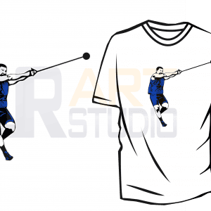 HAMMER THROWER TSHIRT DESIGN VECTOR DOWNLOAD PRINT READY