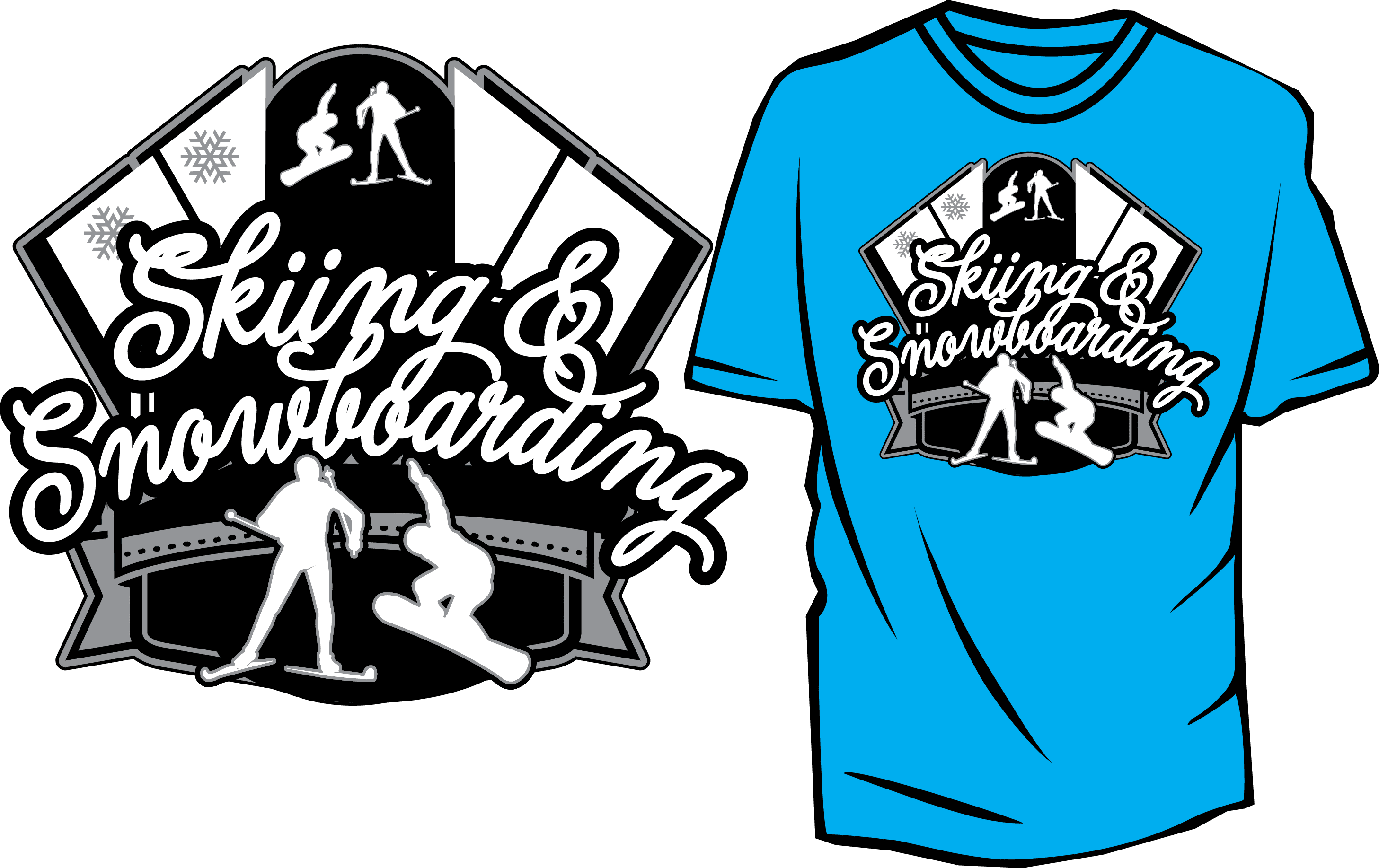 SKIING AND SNOWBOARDING FREE VECTOR DESIGN FOR TSHIRT AND APPREL DOWLOAD print
