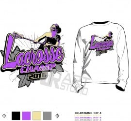 Girls lacrosse championship T-shirt vector design for print