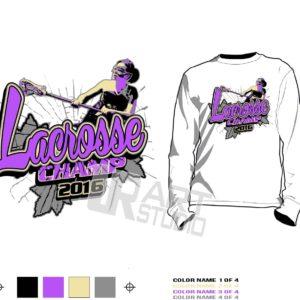 Girls lacrosse championship T-shirt vector design for print