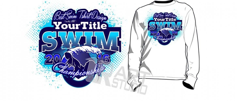 swim tshirt vector design and background