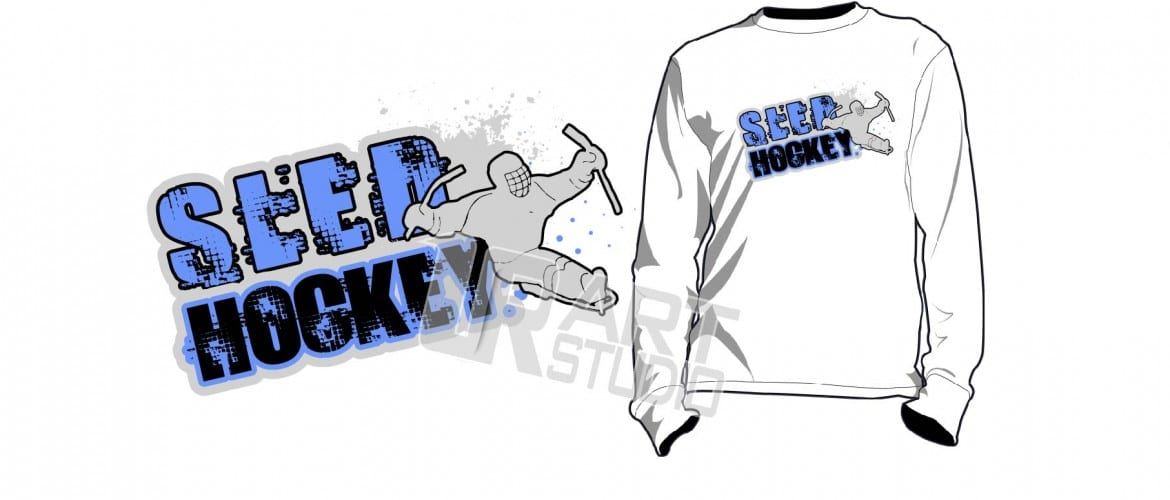 AWESOME LED HOCKEY tshirt vector design 3 colors separated for print layered