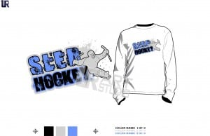 AWESOME SLED HOCKEY tshirt vector design 3 colors separated for print layered