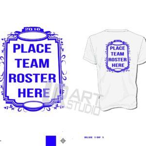 Back Frame Team Roster Vector Design for Team Roster Names one color black color seperated for screen print 2016 UrArtStudio