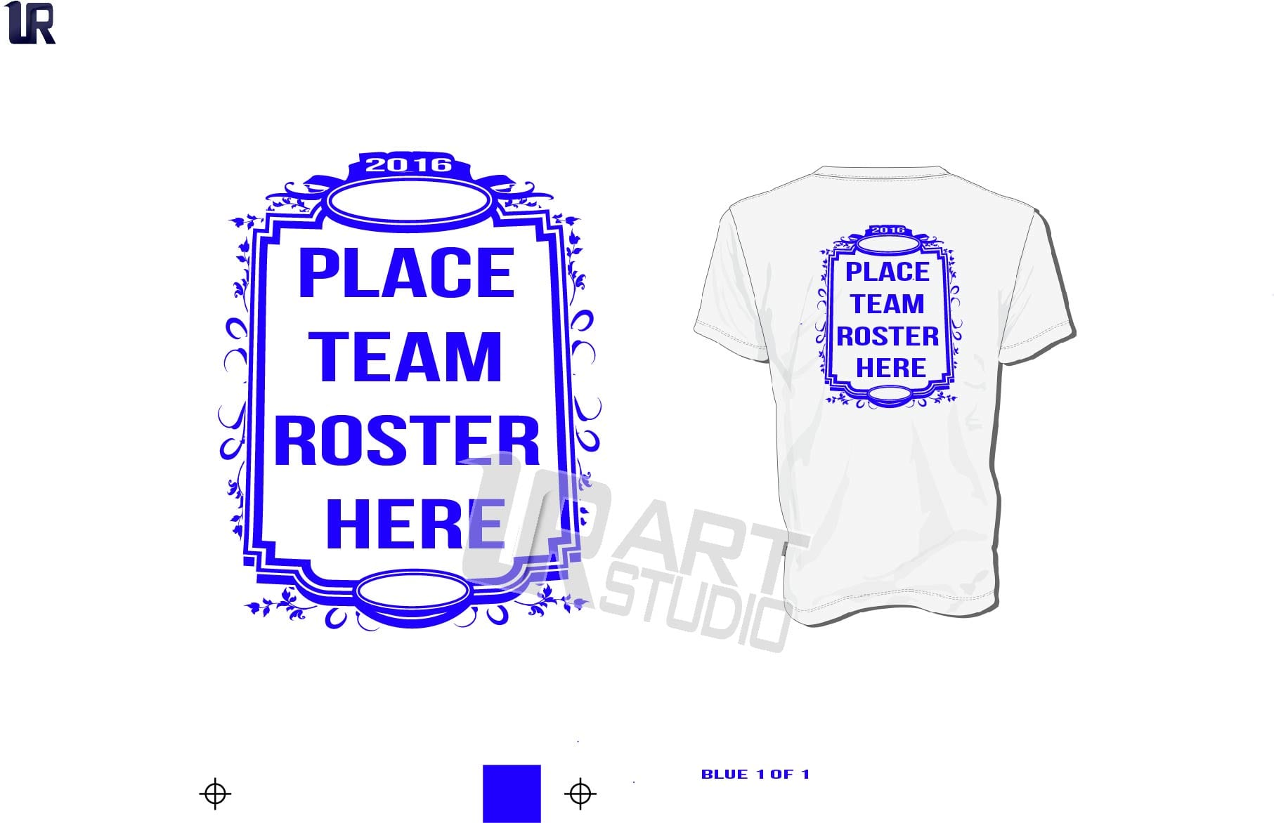 Back Frame Team Roster Vector Design for Team Roster Names one color black color seperated for screen print 2016 UrArtStudio