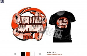 Color seperted for screen printing tshirt logo design track and field championshipt vector design for print four colors