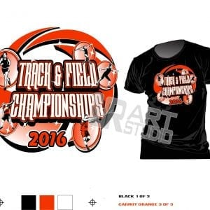 Color SEPARATED for screen printing t shirt logo design track and field championship vector design for print four colors